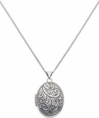 Moon & Back Silver Oval 4 Photo Locket 18 Inch Necklace