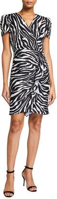 Milly Esme Zebra Print Front Ruffle Sheath Dress