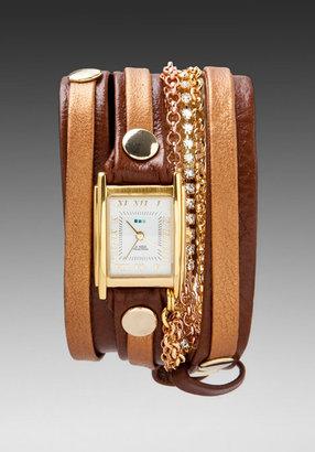 La Mer Diamond Crystal Link Layer Crystal Wrap Watch