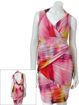 JLO by Jennifer Lopez watercolor mesh empire dress