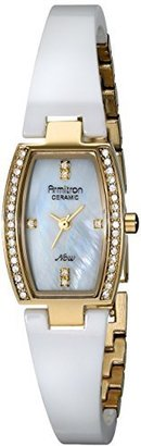 Armitron Women's 75/5143MPGPWT [Amazon Exclusive] Ceramic Gold-Tone White Bangle Swarovski Elements Watch $90 thestylecure.com