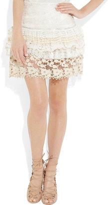 RED Valentino Ruffled silk and lace mini skirt