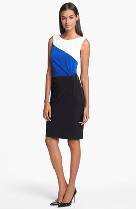 Tahari Colorblock Sleeveless Jersey Dress