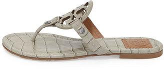 Tory Burch Miller Croc-Print Logo Thong Sandal, Ice Gray
