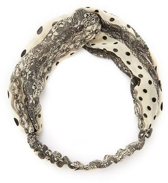 Charlotte Russe Twisted Polka Dot Lace Headwrap