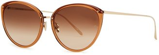 Linda Farrow Luxe Angelica 22kt Gold-plated Cat-eye Sunglasses