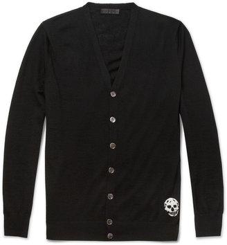 Alexander McQueen Skull-Detailed Fine-Knit Cashmere Cardigan