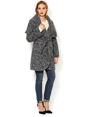 T Tahari Marla Tweed Coat with Tie Belt