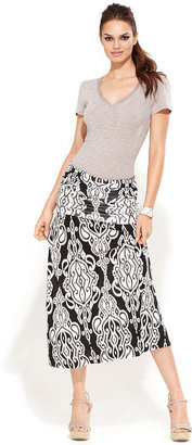 INC International Concepts Skirt, Convertible Exotic-Print Maxi