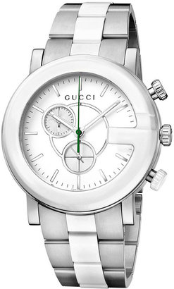 Gucci Watch, Unisex Swiss G-Chrono Stainless Steel and White Ceramic Bracelet 44mm YA101345