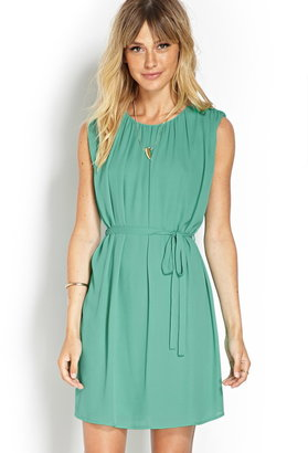 Forever 21 Belted Chiffon Shift Dress