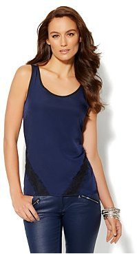 New York & Co. Lace-Trim Mixed-Fabric Sleeveless Top
