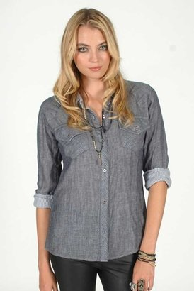 Rails Kendra Gauze Plaid Shirt in Solid Grey