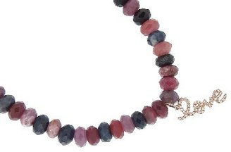 Sydney Evan Diamond LOVE on Mixed Ruby and Sapphire - Rose Gold