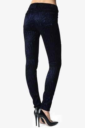 7 For All Mankind The Skinny In Flocked Sateen Navy