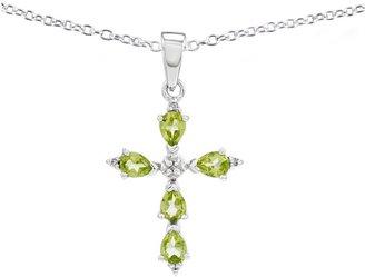 "Sterling Choice of Gemstone Cross Pendant w/ 18"" Chain"