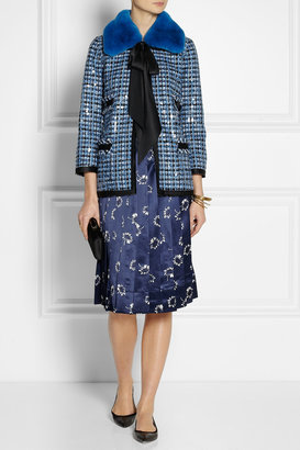 Marc Jacobs Rabbit-collar embellished tweed jacket