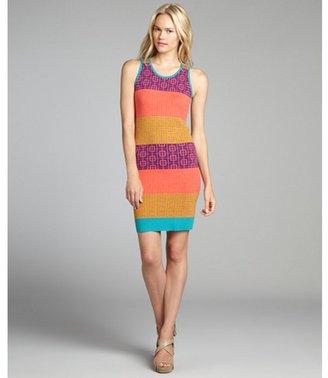 Nicole Miller Artelier orange and purple striped cap sleeve sweater dress