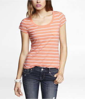 Express Striped Tab Sleeve Tee