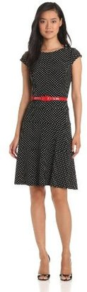 Anne Klein Women's Cap Sleeve Polka Dot Dress