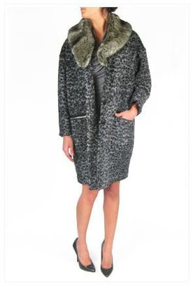 Band Of Outsiders Dropped Shoulder Cocoon Coat with Faux Fur Collar in Leopard Print