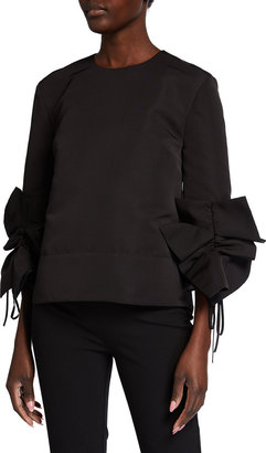 Victoria Victoria Beckham Gathered-Sleeve Faille Top