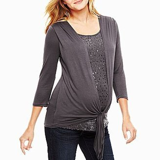 JCPenney Maternity Sequin Shirt With Tie Waist