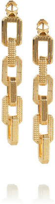 Eddie Borgo Small Supra textured gold-plated chain earrings