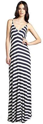 Wyatt navy and white striped jersey knit spaghetti strap maxi dress