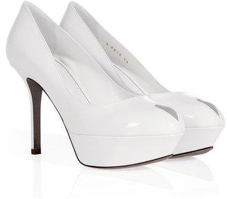 Sergio Rossi White Patent Leather Platform Peep-Toes