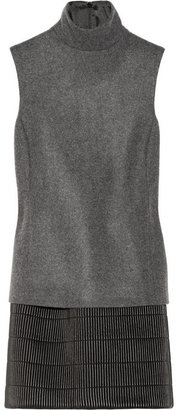 Neil Barrett Wool-blend and ribbed leather dress