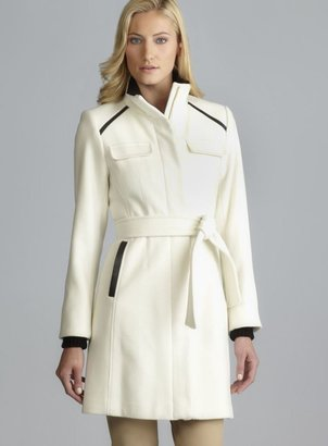 Vince Camuto Faux Leather Detail Belted Funnel Neck Wool Coat