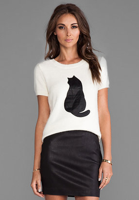 Shae Fuzzy Short Sleeve with Leather Cat Applique in Warm White/Black