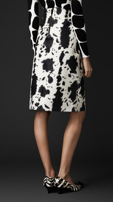 Burberry Animal Print Plongé Leather Pencil Skirt