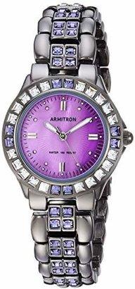 Swarovski Armitron Women's 75/3689VMDG Purple Crystal Accented Gunmetal Bracelet Watch