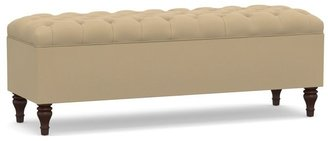 Pottery Barn Lorraine Tufted Upholstered Queen Storage Bench