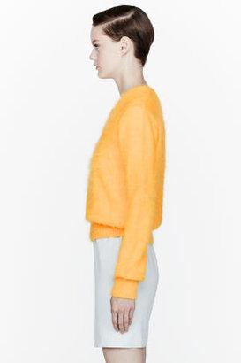 Thierry Mugler Yellow Reverse Neck Angora Sweater