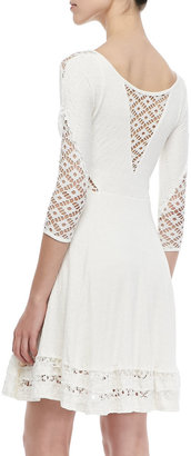 Free People White to the Point Lace-Panel Dress