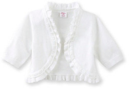 Little Miss Attitude Girls' 2T-6X White Elbow Sleeve Double Ruffle Cardigan