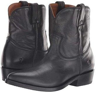Frye Billy Short (Black Polished Soft Full Grain) Cowboy Boots