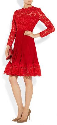 Valentino Lace and plissé silk-crepe dress