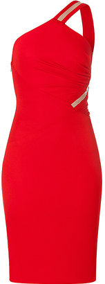 Versace Bright Red One Shoulder Draped Dress