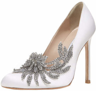 Manolo Blahnik Swan Embellished Satin Pump, White