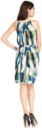 DKNY Dress, Sleeveless Abstract-Print Belted