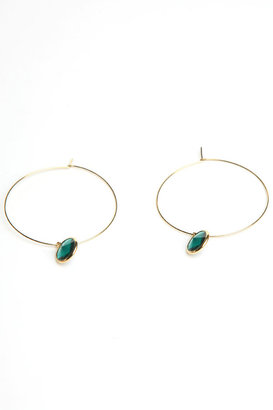 Danielle Stevens Jewelry Hoops with Gem Dangle in Emerald