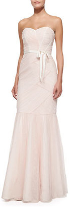 Monique Lhuillier Strapless Ruched Tulle Gown, Blush