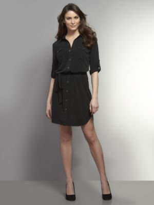 New York & Co. Two-Pocket Belted Shirtdress