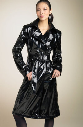 Calvin Klein Belted Faux Patent Trench