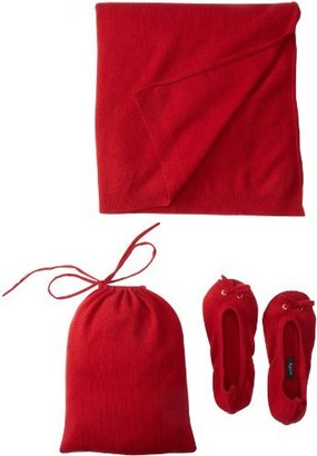 Sofie Women's 100% Cashmere Slipper Pouch Travel Shawl Set