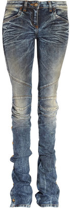 Balmain Distressed mid-rise flared jeans